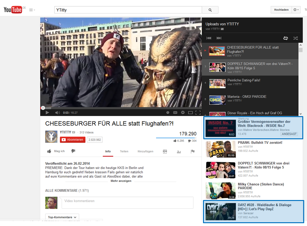 Audience Flow bei YouTube - Watchpage mti Playlist