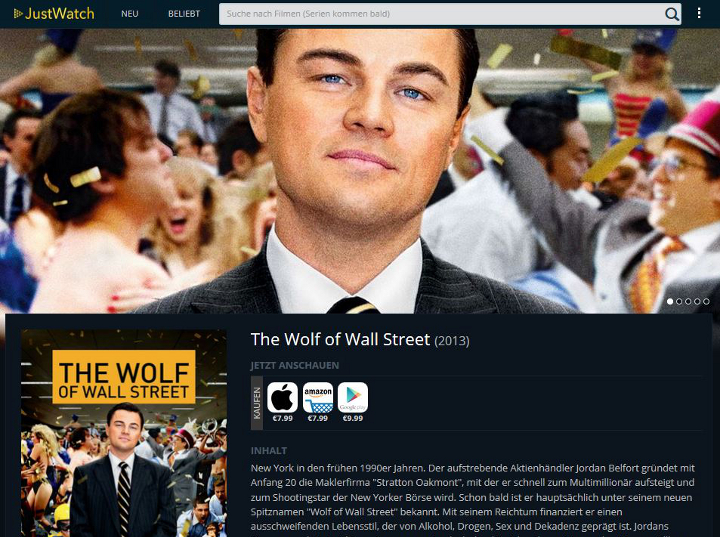 JustWatch Detailseite Wolf of Wall Street